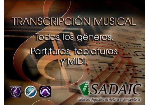Copista Musical, Transcripciòn a Partitura